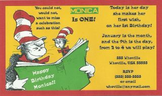 Birthday Party Invitations Dr Seuss Themed Customized for You New 4X6