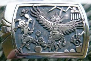 hopi Belt Buckle Sterling Silver Signed Ronald Wadsworth Native
