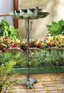 Ivy Vine Pole Stand Bird Bath Seed Feeder Leaf Tray Garden Yard Decor