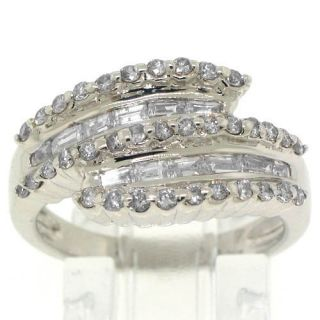 Womens 1 Carat Round Baguette Discount Diamond Ring Wedding Band White