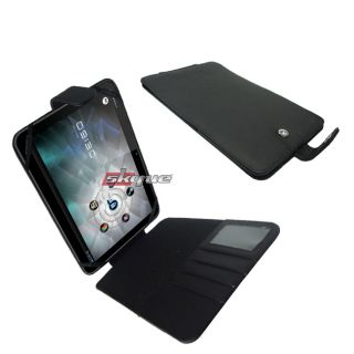 Durable Leather Flip Folio Pouch Cover Case for Motorola Xoom Tablet