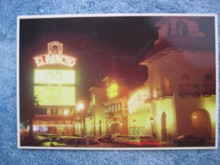 Vintage Las Vegas Postcard El Rancho Hotel Casino night view