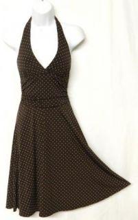 BCBG MAXAZRIA Size XS Brown Polka Dot Ecru Slinky Knit Halter Dress