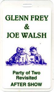 Glenn Frey Joe Walsh Laminated Backstage Pass Eagles