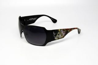 Ed Hardy EHS Brad 2 Sunglasses Black Plastic Frame Gray Lenses