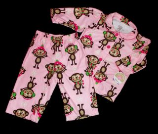 Infant Toddler Girls Sz 12 24 MO 4 5T Winter Monkeys Pajamas 2 PC