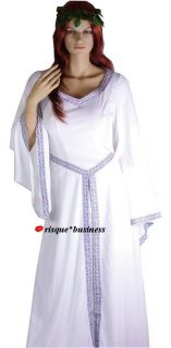 Medieval Maid White Witch Wedding Bridal Fancy Dress Gown Costume   XL