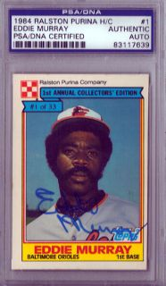 Eddie Murray Autographed 1984 Ralston Purina Card PSA/DNA Slabbed