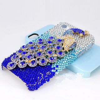 Set Auger Blue Peacock Bling DIY Deco Kit for Cell Phone iPhone 4G 4S