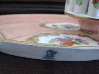 Carl Thieme Dresden Hand Painted Floral Gold Smoking Set Cigarette