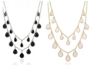 Fashion Dazzling Crystal Gold Plated Charming Drop Charm Necklace