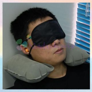 Pillow Inflatable Travel Camping Hiking Cushion Eye Mask Ear Plugs
