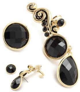 Black Ear Pin Cuffs Earrings Cuff Hook 1 5 Sweeps Up Ear w Clip Gold