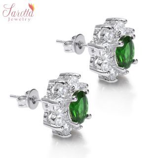 Jewelry Lady Oval Cut Green Emerald White Gold GP Stud Ring Earrings