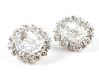 Yosca Jewelry Clear Gem & Crystal Cabochon Clip On Earrings $170 New