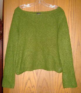 Eileen Fisher Cedar Green Plush Wool Angora Yarn Knit Boat Neck
