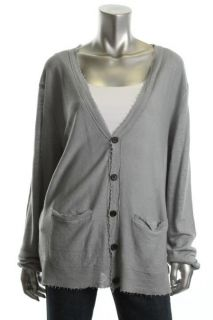EDUN New Gray Fringe Trim Long Sleeve Button Front Cardigan Sweater
