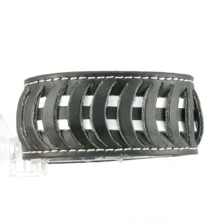 H872 Gothic Black Leather Rock Wristband Cuff Men Women Surfer Tribal