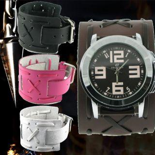 K10 Gothic Punk Man Women Cross Leather Watch Brown Black White Pink