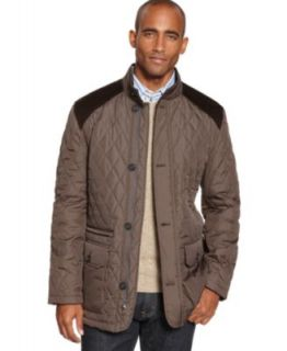 Tasso Elba New Brown Water Repellent Quilted Jacket with Elbow Patches