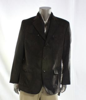 Tasso Elba NEW Brown Mens Button Up Zip Suede Long Sleeve Jacket Size