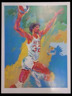 1976 Julius Dr J Erving Leroy Neiman Lithograph Poster Nets ABA