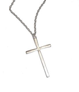 Large Cross Pendant on Chain Antique Silver 16 18 24 or 32 Chain