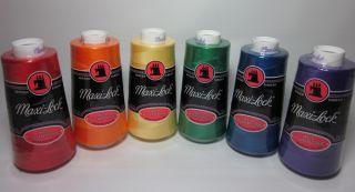 Maxilock Polyester Serger Thread Set Rainbow Red Orange Yellow Green