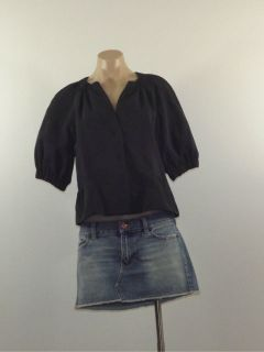 Nine West Size 8 Black Gathered Nylon Blend Short Sleeve Snap Button