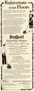1925 Ad Ponsell Electric Floor Polisher Cleaner Machine Restoration