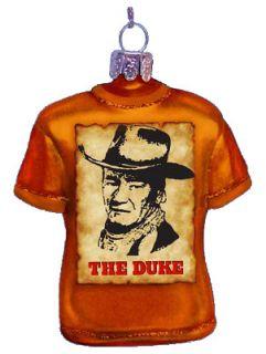 John Wayne The Duke T Shirt Tee Shirt Glass Holiday Christmas Ornament