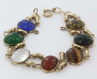 Estate Egyptian Scarab Beetle Tigers Eye Jade Carnelian Lapis 9k Gold