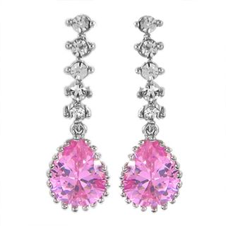 Pear Cut Pink Sapphire 18K White Gold Plated Stud Drop Earrings