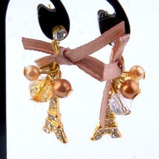Pair Golden Plate Crystal Resin Eiffel Tower Bow Dangle Ear Stud