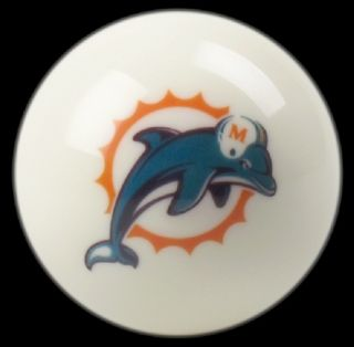Miami Dolphins NFL Billiard Pool Table Cue 8 Ball