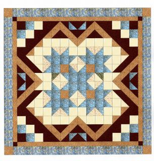 Easy Quilt Kit HeavenVariation Blue Brown Queen Size Pre cut Ready To