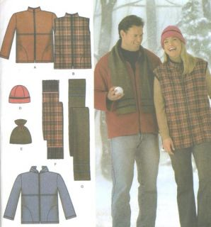 Jacket Vest Hat Scarf Sewing Pattern Easy Sew Simplicity 4803