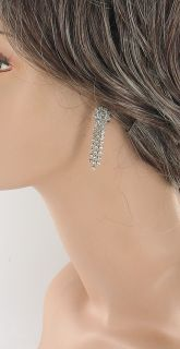Vintage Eisenberg Ice Crystal Rhinestone Clip Dangle Earrings on Orig