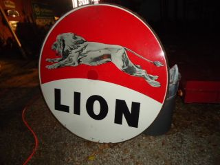 Lion Gas Sign 60 Porcelain Sign with Ring RARE L K