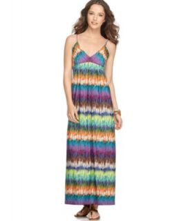 ECI New York New Multi Color Grass Print Jersey Tank Maxi Casual Dress
