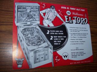 Williams El Toro Original Pinball Machine Sales Flyer Brochure 1963