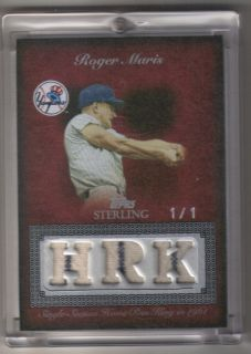 2008 Topps Sterling Stardom Roger Maris 1 of 1 Home Run King 3 Relic