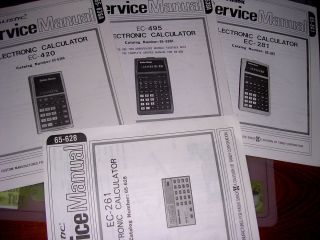 SERVICE Manuals REALISTIC Radio Shack ELECTRONIC CALCULATORS EC261