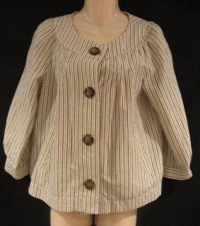 GAP Misses Tan Stone Black Striped Buttons Short Mod Baby Doll Casual