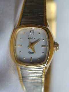 Unusual Elgin Diamond Two Tone Ladies Quartz Watch Works