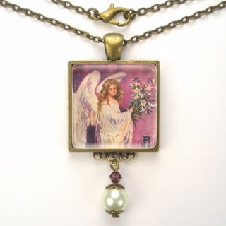 Easter Angel Lily Lilies Art Glass Pendant Necklace Vintage Charm