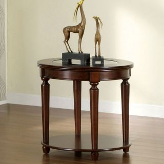 Elisha Dark Cherry Finish English Style Beveled Glass Top End Table