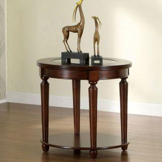 Elisha Dark Cherry Finish English Style Beveled Glass Top End Table