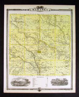 1875 Iowa Map Mahaska County Oskaloosa Eddyville Albia