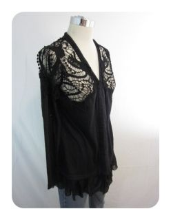 New Mystree Black Crochet Lace Long Sleeve Cardigan Sweater Small $88